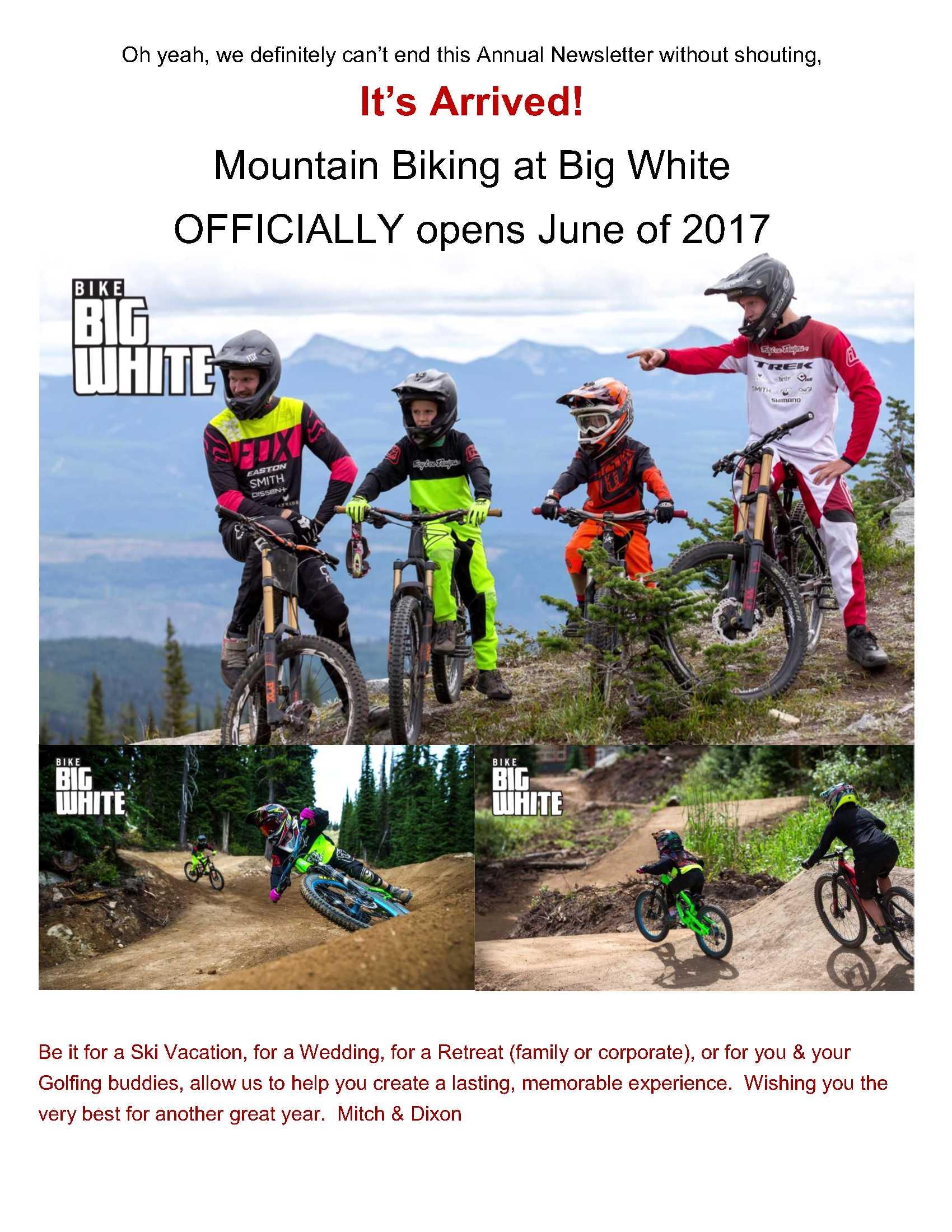 It's really happening!  Mountain Biking at Big White!